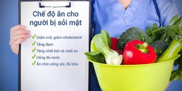 chế độ dinh dưỡng cho người sỏi mật