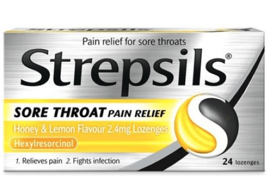 Viên ngậm Strepsils Sore Throat Pain Relief Honey Honey & Lemon Flavor 2.4mg Lozenges