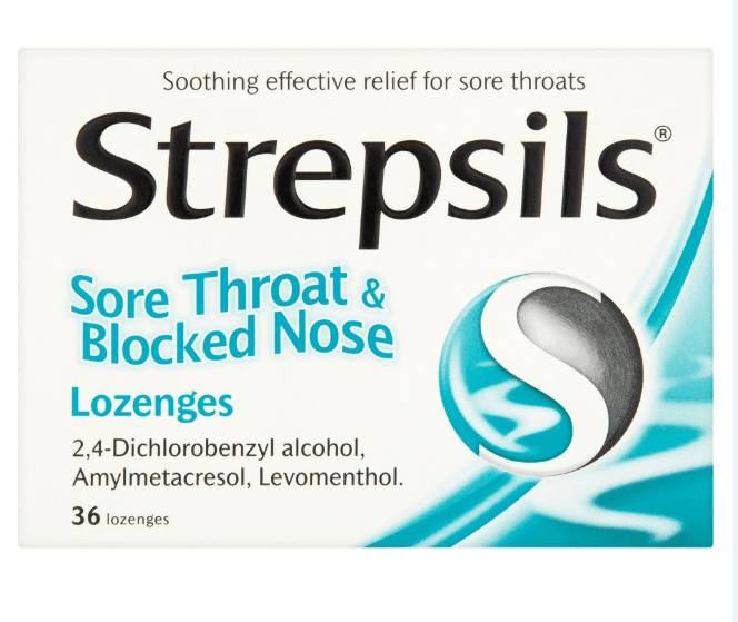 Viên ngậm Strepsils Sore Throat & Blocked Nose Lozengers
