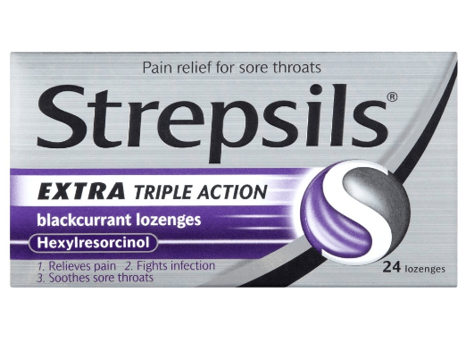 Viên ngậm Strepsils Extra Triple Action Blackcurrant Lozenges