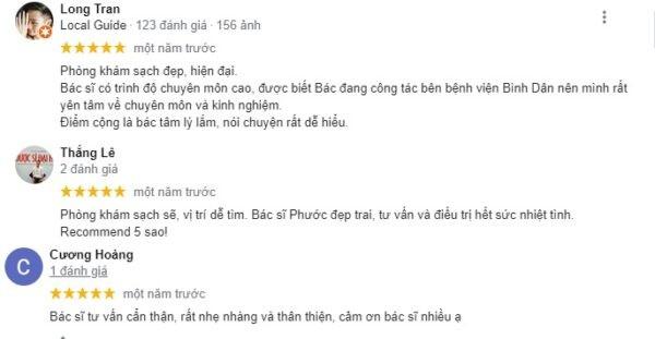 Review bệnh nhân về phòng khám bác sĩ Nguyễn Hồ Vĩnh Phước