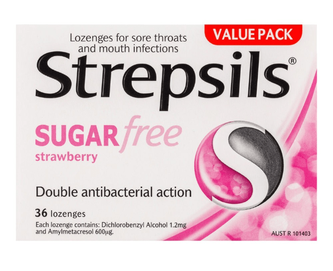 Viên ngậm strepsils sugarfree strawberry