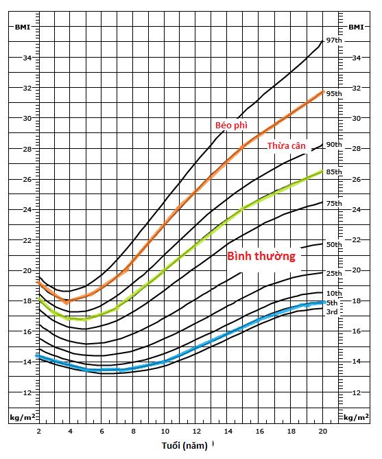 Biểu đồ tăng trưởng BMI ở trẻ gái