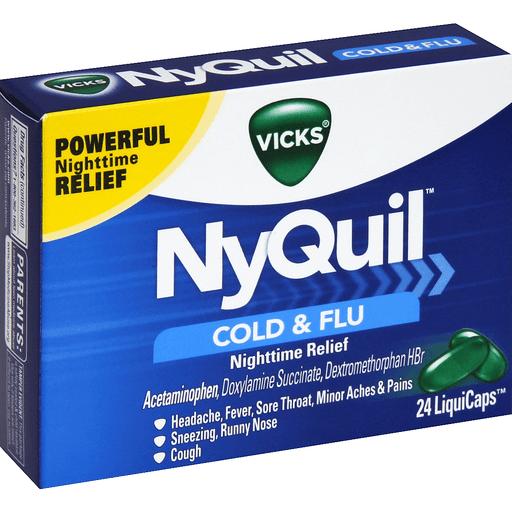 Thuốc Nyquil cold & flu (paracetamol, dextromethorphan, doxylamine)