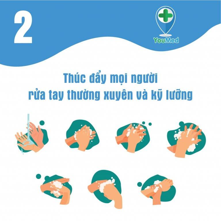 Thúc đẩy mọi người rửa tay thường xuyên và kỹ lưỡng
