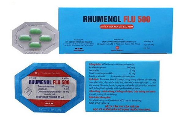 Thuốc Rhumenol Flu 500 (acetaminophen, loratadin, dextromethorphan)