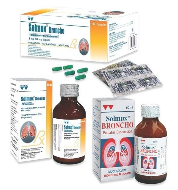 Thuốc điều trị ho có đàm Solmux Broncho (salbutamol, carbocistein)