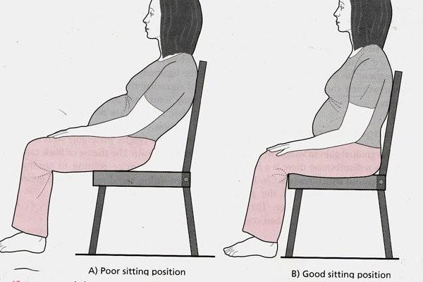 Minh họa tư thế ngồi tốt cho mẹ bầu