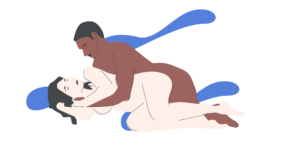 Tư thế quan hệ khi mang thai nằm nghiêng, người đàn ông tiếp cận từ phía sau