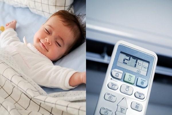 Bật điều hòa ở nhiệt độ thích hợp khi trẻ ngủ