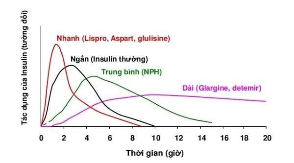 đỉnh tác dụng của insulin sau khi tiêm dưới da