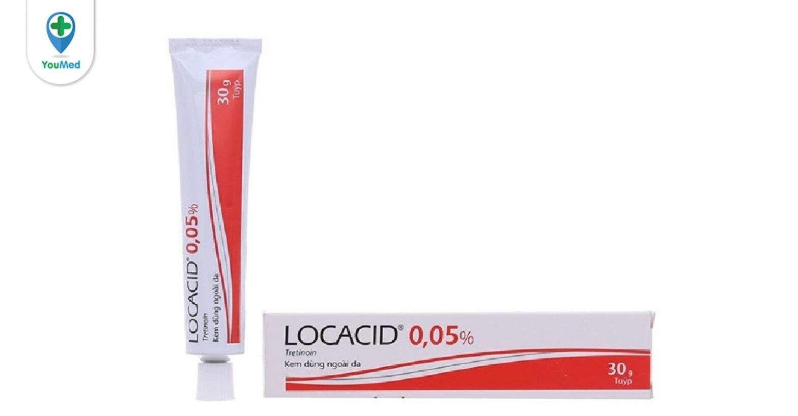 Thuốc trị mụn Locacid 0,05% : giá, cách dùng hiệu quả và những lưu ý