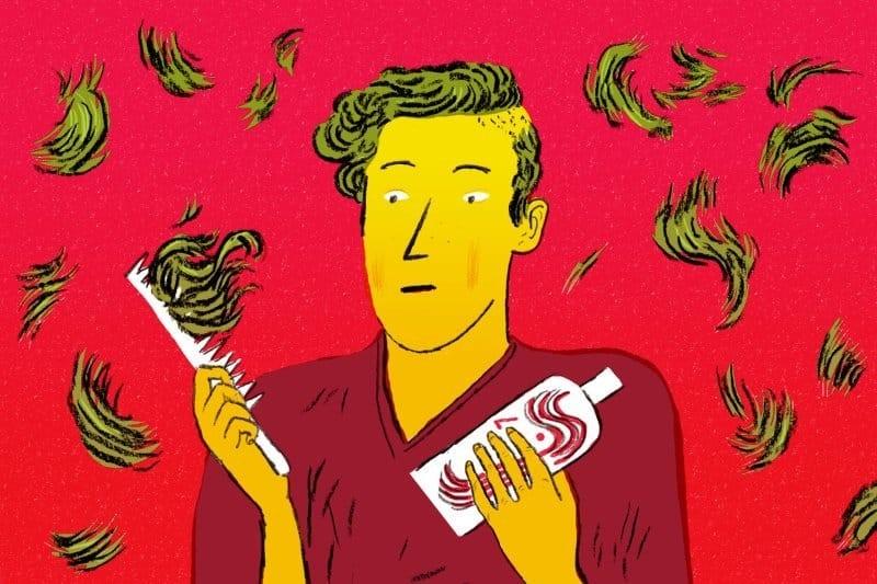 """Rụng tóc là một trong những biểu hiện không mấy dễ chịu của hội chứng này trong """"ngày đèn đỏ"""" của đàn ông"""