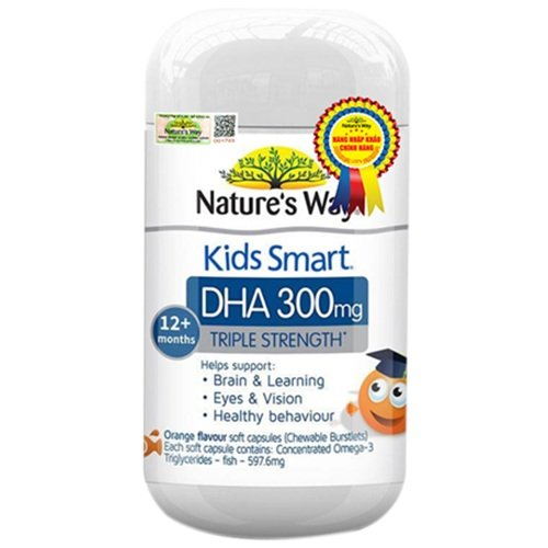 Viên nhai bổ não Nature's Way Kids Smart DHA 300mg Triple Strength