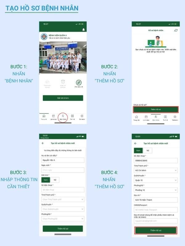 4 bước tạo hồ sơ bệnh nhân qua ứng dụng bệnh viện quận 4