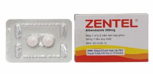Thuốc tẩy giun Zentel chứa albendazol