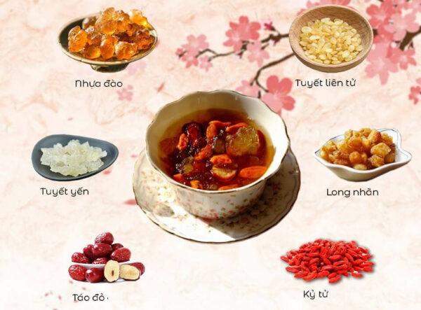 Một số nguyên liệu thường gặp trong chè dưỡng nhan.