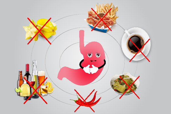 Hạn chế ăn các loại đồ ăn chua, cay, nóng, chứa nhiều acid và chất kích thích